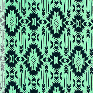 Navy Blue Navajo on Mint Cotton Spandex Blend Knit Fabric