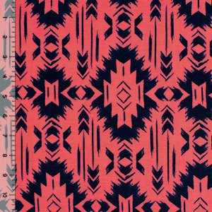 Half Yard Navy Blue Navajo on Neon Coral Cotton Spandex Blend Knit Fabric