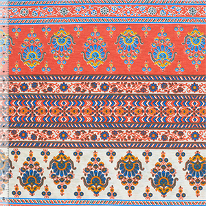 Blue Orange Baroque Rows Cotton Spandex Blend Knit Fabric