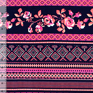 Neon Pink Navy Blue Floral Ethnic Rows Cotton Spandex Blend Knit Fabric