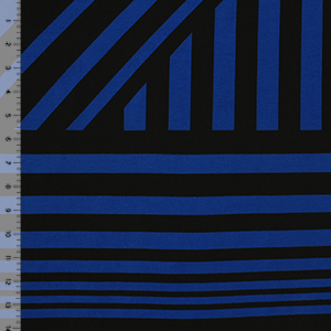 Royal Blue Black Nautical Flag Stripe Cotton Spandex Knit Fabric