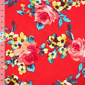 Pink Peach Rose Floral on Hot Coral Cotton Spandex Blend Knit Fabric