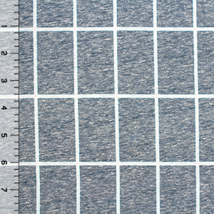 Heather Blue Ivory Grid Cotton Spandex Tri Blend Knit Fabric