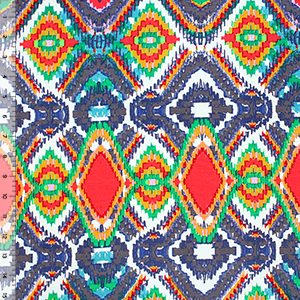 Colorful Pixel Ikat Cotton Spandex Blend Knit Fabric
