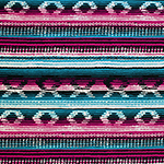 Magenta Blue Navajo Blanket Cotton Spandex Blend Knit Fabric
