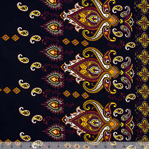 Half Yard Sari Paisely on Black Border Print Cotton Spandex Blend Knit Fabric