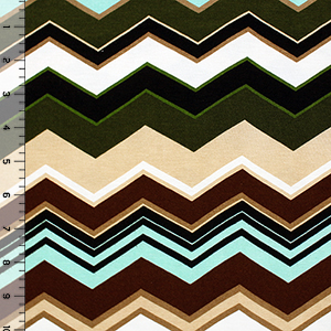 Forest Green Brown Multi Chevron Cotton Spandex Blend Knit Fabric