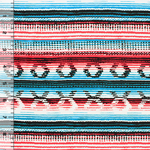 Red Turquoise Blue Southwest Blanket Cotton Spandex Blend Knit Fabric