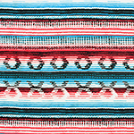 Red Turquoise Blue Navajo Blanket Cotton Spandex Blend Knit Fabric