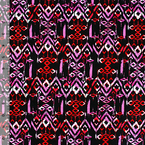 Orchid Purple Red Vintage Aztec Cotton Spandex Blend Knit Fabric