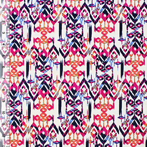 Jewel Colors Vintage Aztec Cotton Spandex Blend Knit Fabric
