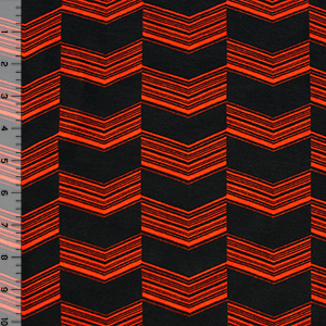 Black Orange Checkered Linear Arrows Cotton Spandex Blend Knit Fabric