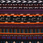 Teal Blue Orange Vintage Ethnic Rows Cotton Spandex Blend Knit Fabric