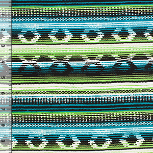 Teal Blue Meadow Green Navajo Blanket Cotton Spandex Blend Knit Fabric