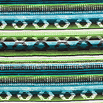 Teal Blue Meadow Green Southwest Blanket Cotton Spandex Blend Knit Fabric