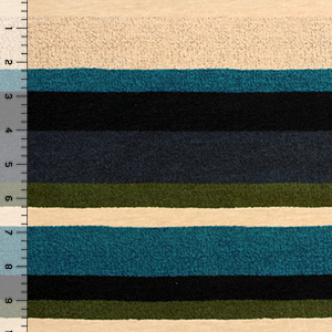 Charcoal Olive Vintage Stripe Brushed Jersey Spandex Blend Knit Fabric