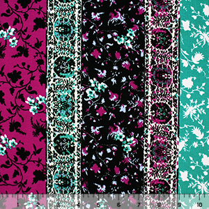 Teal Magenta Vertical Floral Stripe Cotton Spandex Knit Fabric