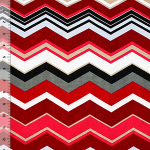 Red Charcoal Multi Chevron Cotton Spandex Blend Knit Fabric
