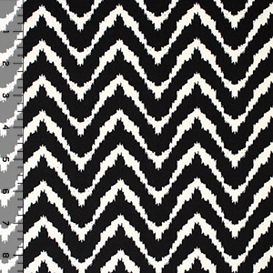 Natural White Zig Zag on Black Brushed Jersey Spandex Blend Knit Fabric