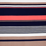 Neon Coral Navy Multi Stripe Brushed Jersey Spandex Blend Knit Fabric