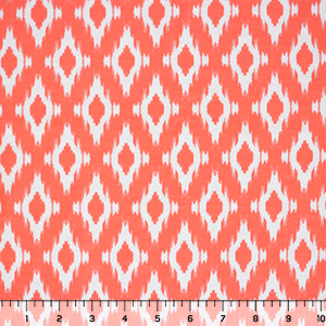 White Ikat on Neon Coral Brushed Jersey Spandex Blend Knit Fabric