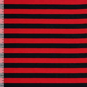 Red Black Stripe Cotton Spandex Knit Fabric