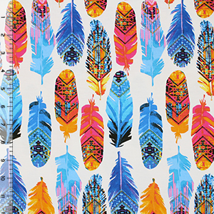 Bright Painted Feathers Cotton Spandex Blend Knit Fabric