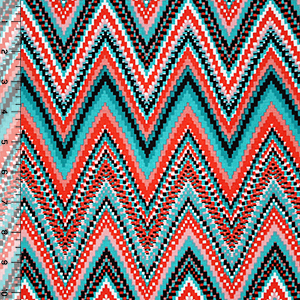 Teal Coral Pixel Zig Zag Cotton Spandex Blend Knit Fabric