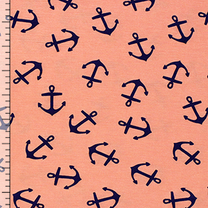 Navy Blue Small Anchors on Peach Cotton Spandex Blend Knit Fabric