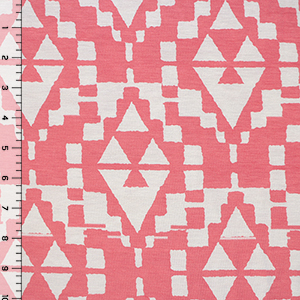 Coral Pink Aztec Diamonds Cotton Spandex Blend Knit Fabric