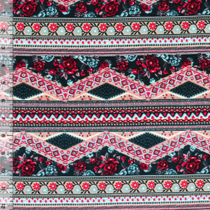 Red Blue Detailed Floral Rows Cotton Spandex Blend Knit Fabric