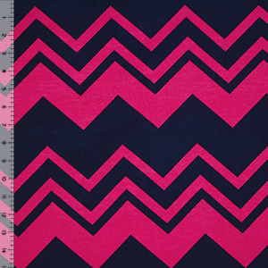 Navy Blue Fuchsia Multi Chevron Cotton Spandex Blend Knit Fabric