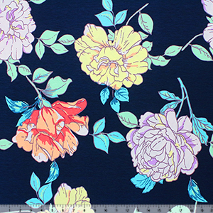 Mint Peach Big Floral on Navy Cotton Spandex Blend Knit Fabric