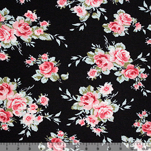 Small Peach Burgundy Floral on Black Cotton Spandex Blend Knit Fabric