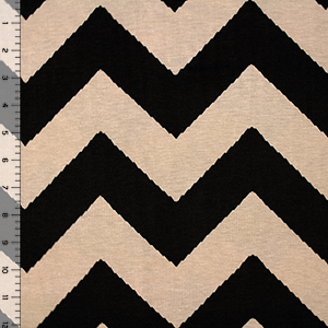 Black Shaky Chevron on Mocha Cotton Spandex Blend Knit Fabric