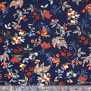 Pressed Flowers Leaves on Navy Blue Cotton Spandex Blend Knit Fabric