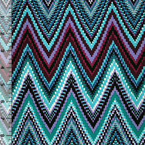 Plum Teal Pixel Zig Zag Cotton Spandex Blend Knit Fabric