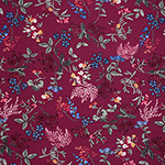 Pressed Flowers Leaves on Magenta Pink Cotton Spandex Blend Knit Fabric