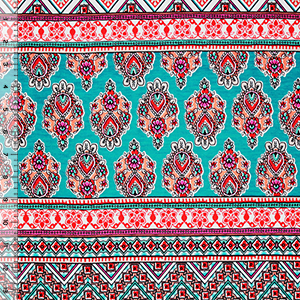 Coral Teal Sari Inspired Rows Cotton Spandex Blend Knit Fabric