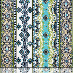 Blue Green Vertical Ornate Rows Cotton Spandex Blend Knit Fabric