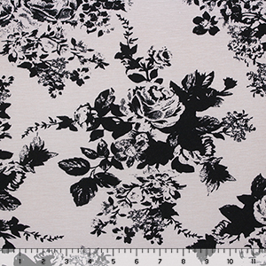 Slightly Flawed Black Floral on Silver Peony Cotton Spandex Blend Knit Fabric