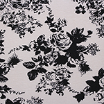 Black Floral on Silver Peony Cotton Spandex Blend Knit Fabric