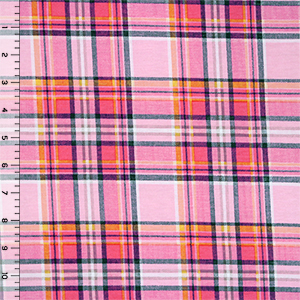 Sarah Plaid Cotton Spandex Blend Knit Fabric