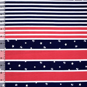 Stars Multi Stripe Cotton Spandex Blend Knit Fabric