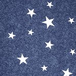 Tossed White Stars on Denim Blue Cotton Spandex Blend Knit Fabric