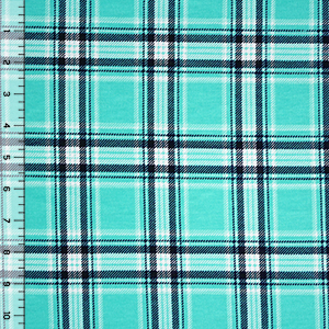 Half Yard Selby Plaid Cotton Spandex Blend Knit Fabric