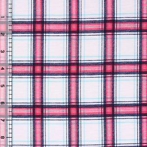 Shelley Plaid Cotton Spandex Blend Knit Fabric