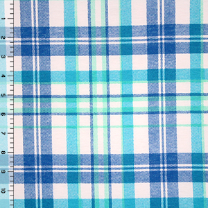 Shelby Plaid Cotton Spandex Blend Knit Fabric