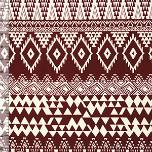Maroon Cream Triangle Diamond Eye Cotton Spandex Blend Knit Fabric