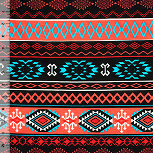 Turquoise Coral Navajo Ethnic Rows Cotton Spandex Blend Knit Fabric